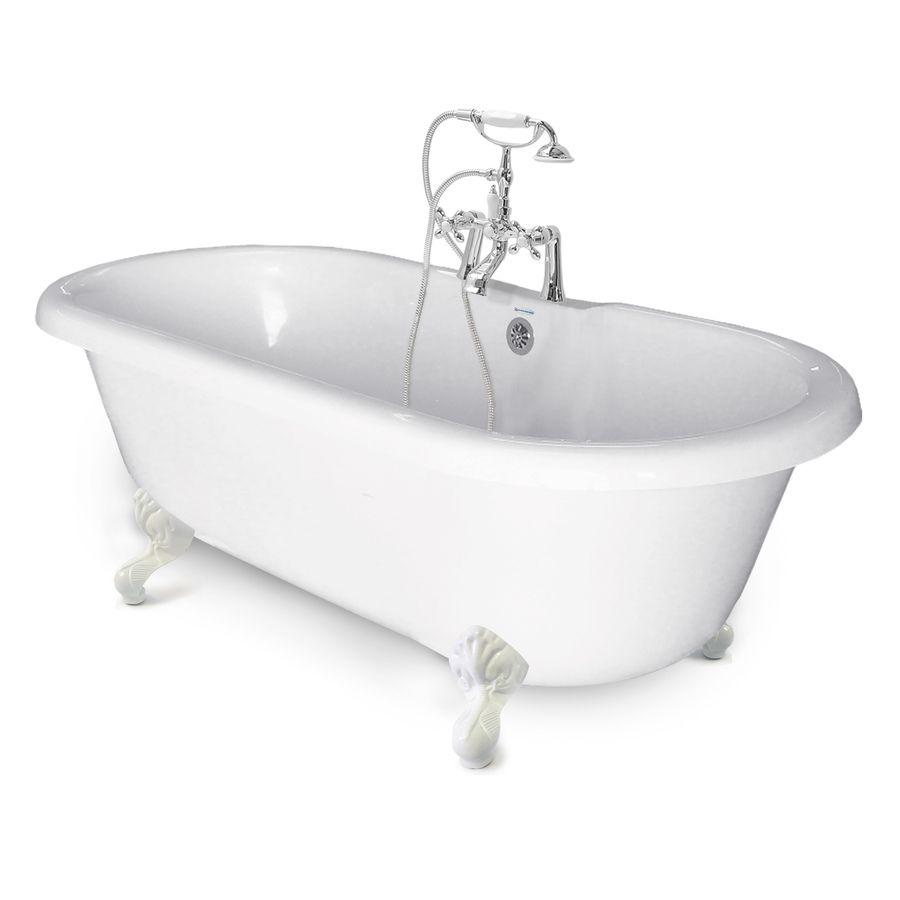 American bath factory chelsea white tubwhite feet acrylic oval