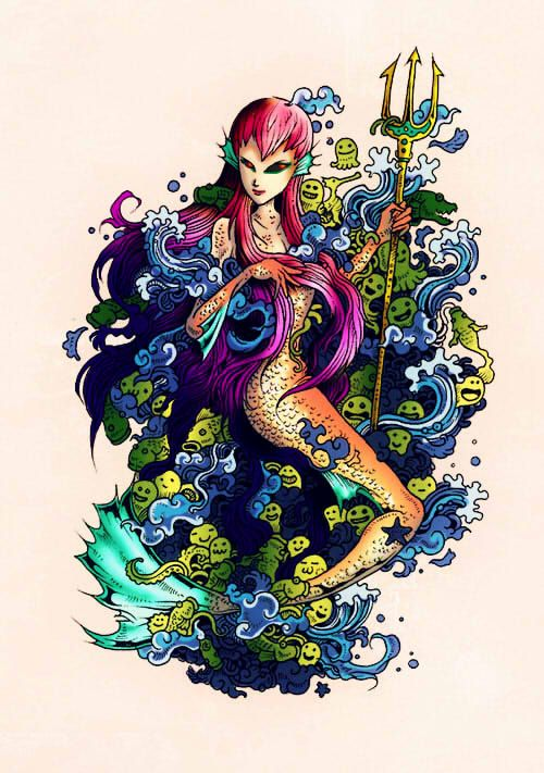 This One Came From Doodle Invasion Zifflins Coloring Book Mermaid COLORED