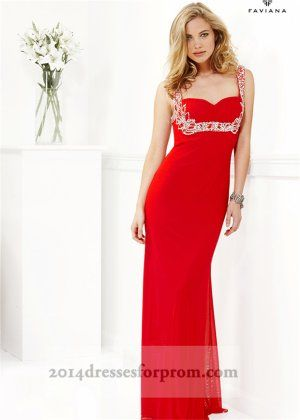 Faviana 7139 Red Sparkly Straps Long Prom Dresses 2014