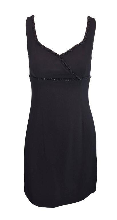 37754019 S/S 1995 Dolce and Gabbana Beaded Black Mod Mini Dress Cape 38 XS ...