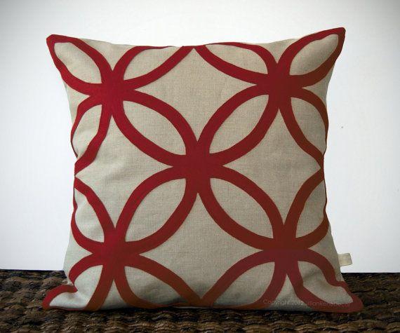 DECORATIVE PILLOW COVER   Geometric Felt Design By JillianReneDecor Fall  Winter Holiday Home Decor Burgundy And