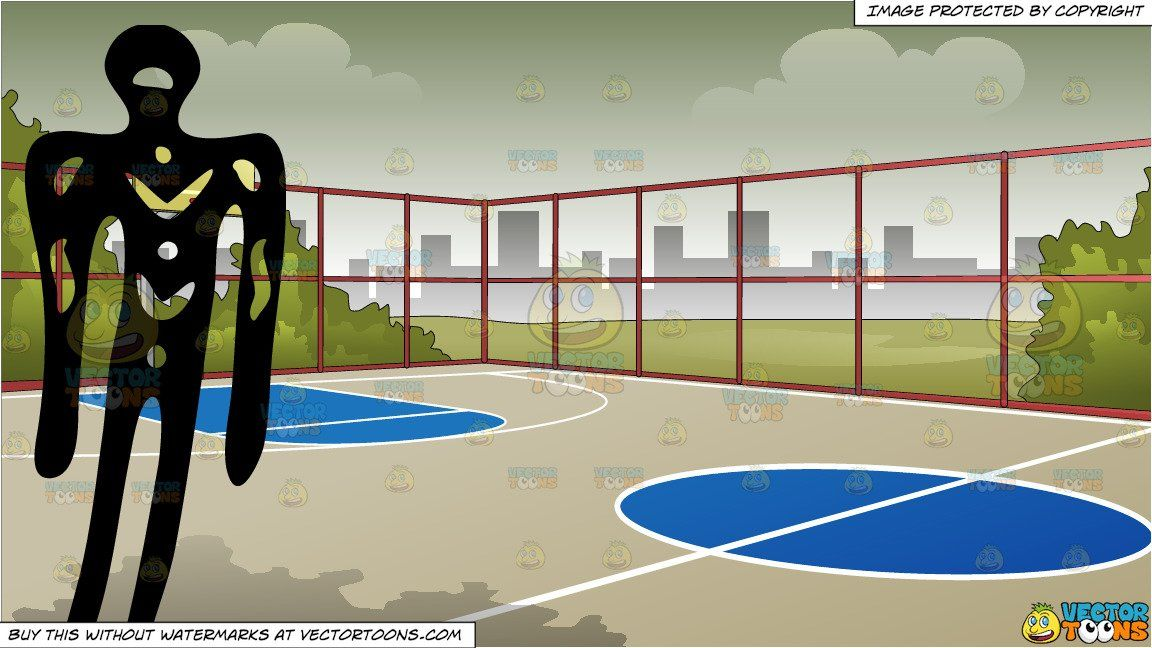 Primitive Art Of A Man And Outdoor Basketball Court Background Outdoor Basketball Court Background Outdoor