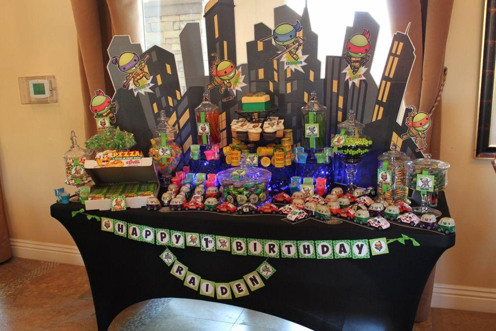 Tmnt Teenage Mutant Ninja Turtles Candy Table Teenage Mutant Ninja Turtles Party Turtle Party Ninja Turtle Party