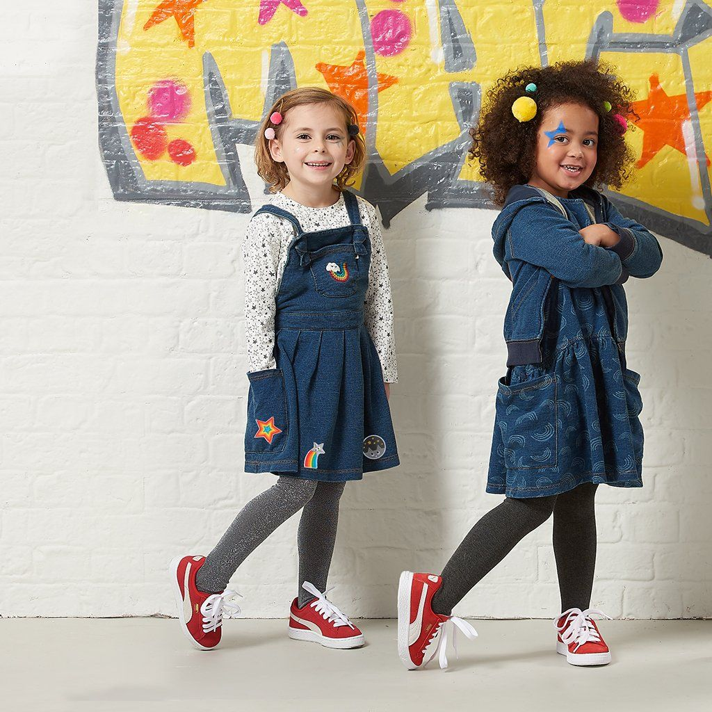 1b0f720e2 Diva Badges - Denim Terry Pinafore Girls Dress + Iron On Badges, The bonnie  mob