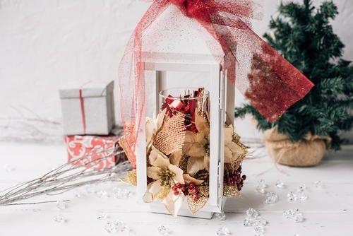 Homemade Floral Christmas Lantern Decoration ~ video tutorial