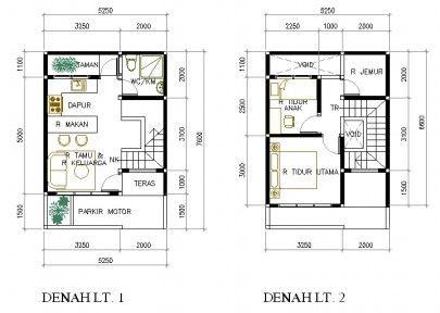 contoh denah rumah mungil 2 lantai | home | pinterest