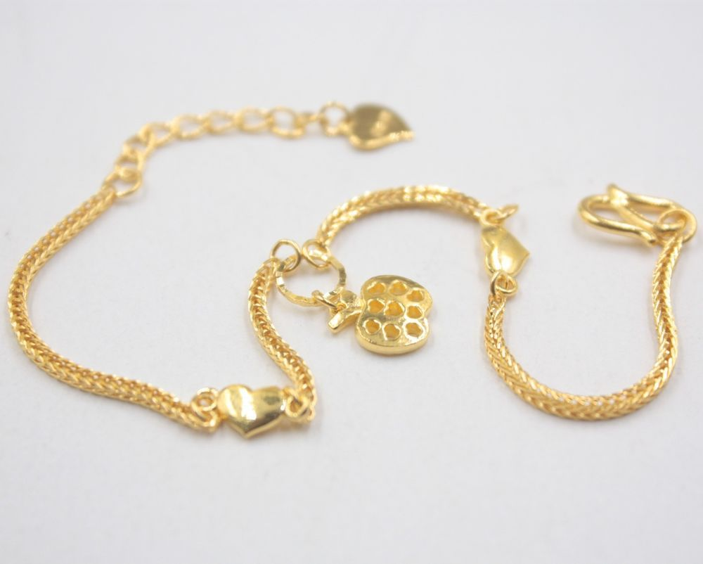 Pure k yellow gold bracelet womanus elegant apple wheat link heart