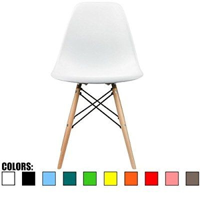 Wondrous 2Xhome White Eames Style Side Chair Natural Wood Legs Forskolin Free Trial Chair Design Images Forskolin Free Trialorg