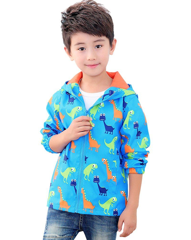 Boys' Rain Jacket, Kids Waterproof Outwear Raincoat with Hooded#DD-Dinosaur Blue-110#. Waterproof fabric, windproof, Breathable. Elastic cuffs. Machine Wash. Occasion: Casual, Outdoors, Everyday ,Rainday .Season: Spring, Autumn, Summer. We are using Asian size, please note the size detail below product description.