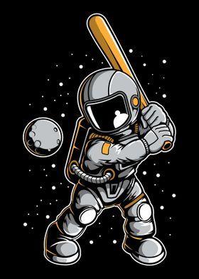 Metal Poster Astronaut Baseball