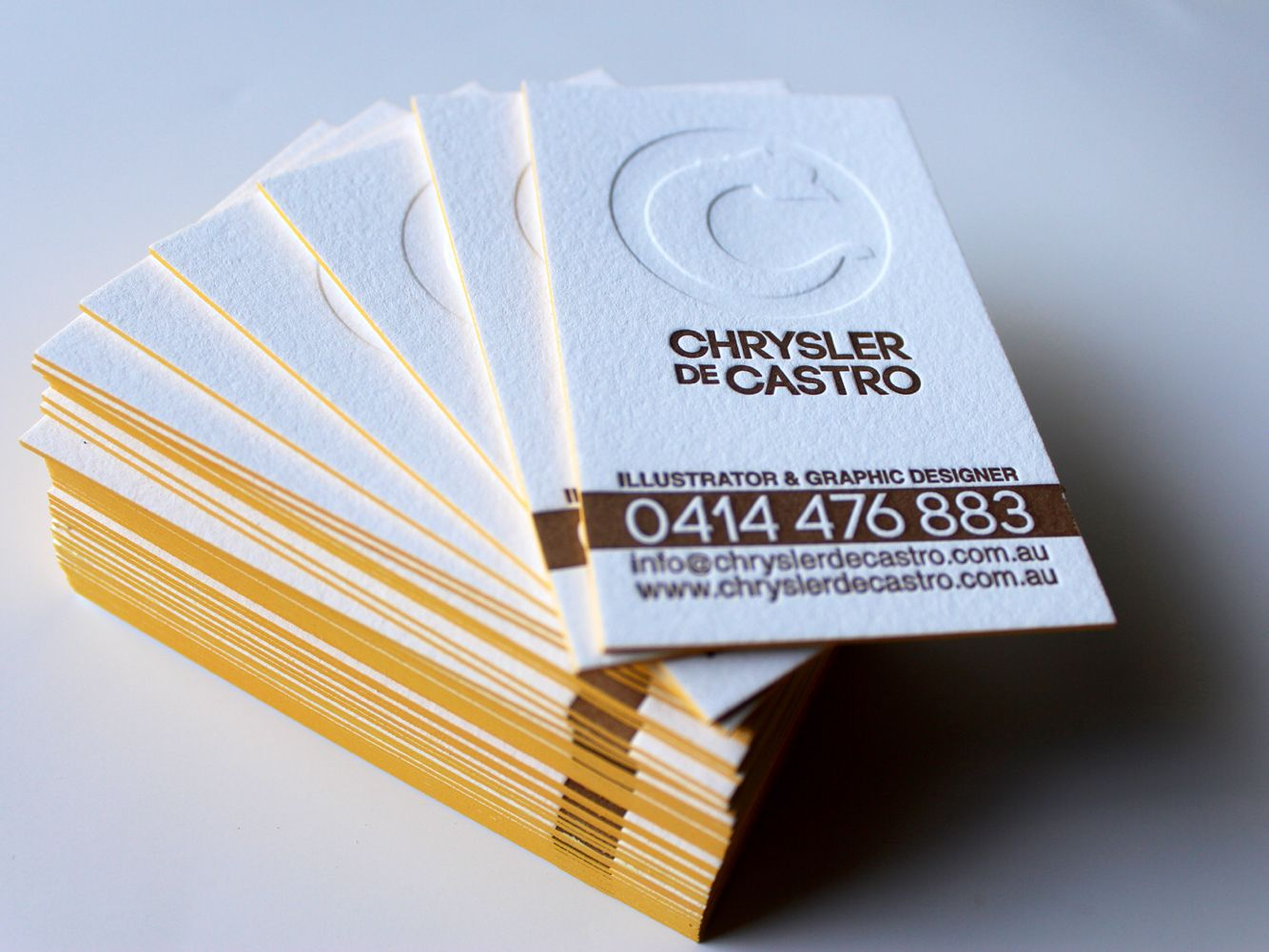 Self promotion Letterpress Business card. 500gsm Lettra 100 ...