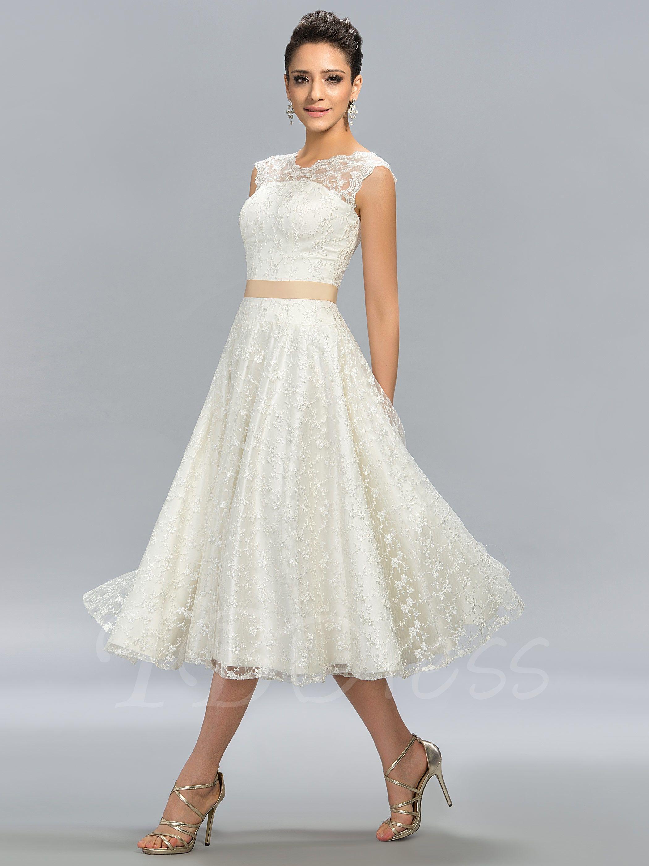 A Line Jewel Neck Lace Tea Length Junior Prom Dress Vintage White Lace Wedding Dress Short Lace Wedding Dress Tea Length Dresses [ 2800 x 2100 Pixel ]