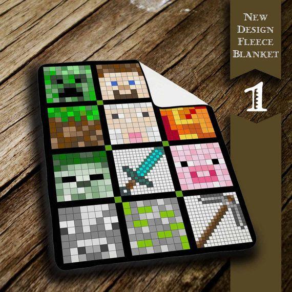 Minecraft Quilt Face  Fleece Blanket Gift Blanket by Rockkiid