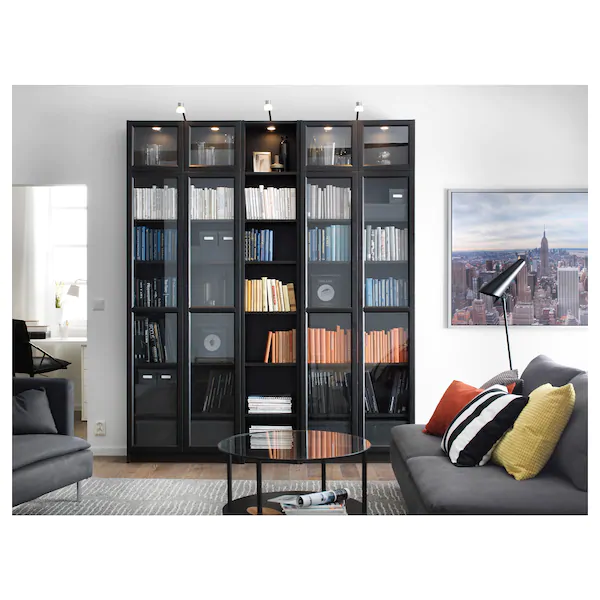 Billy Oxberg Bookcase Black Brown 78 3 4x11 3 4x93 1 4 Ikea In 2020 Led Cabinet Lighting Ikea Living Room Cabinet Lighting