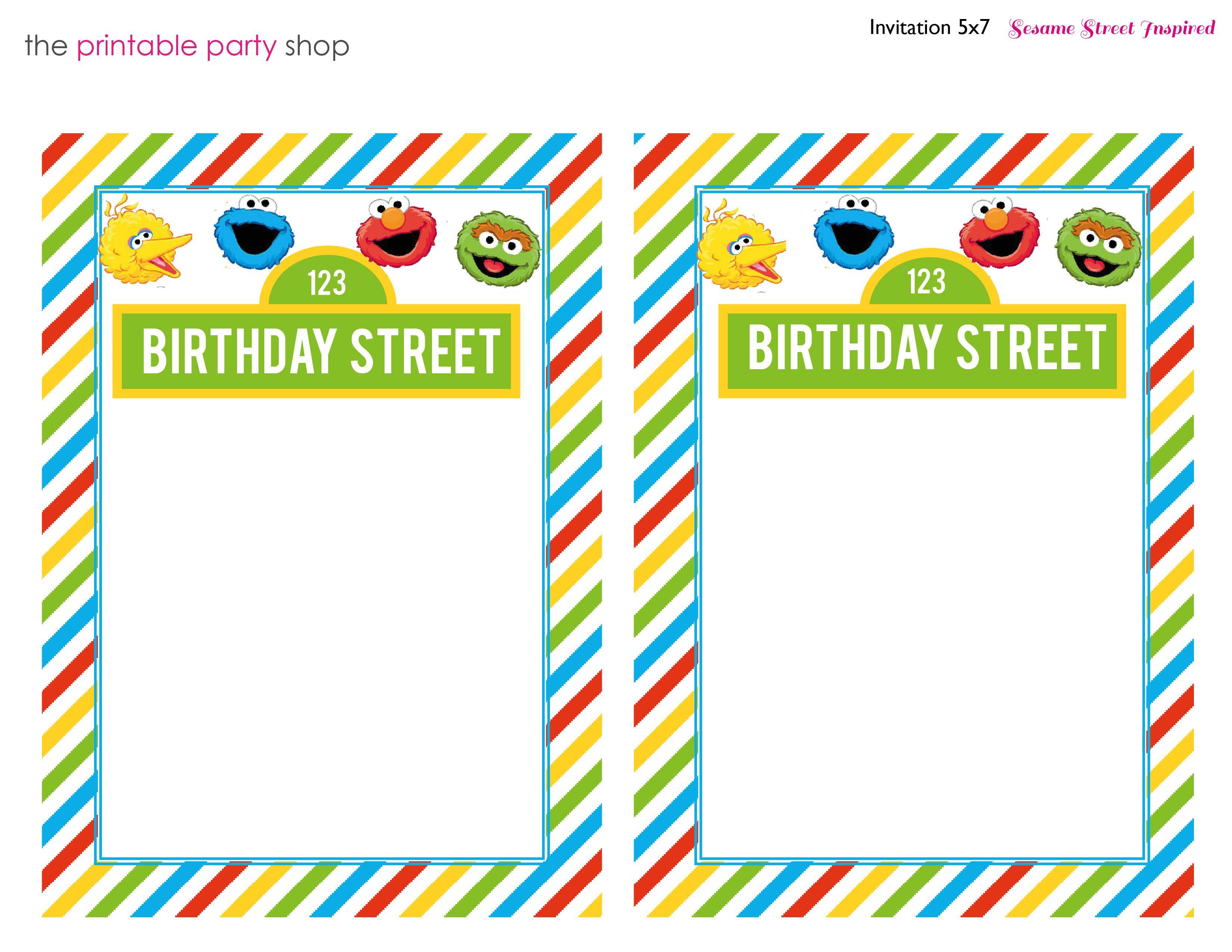 blank sesame street invitation | party ideas | pinterest | cakes, Party invitations