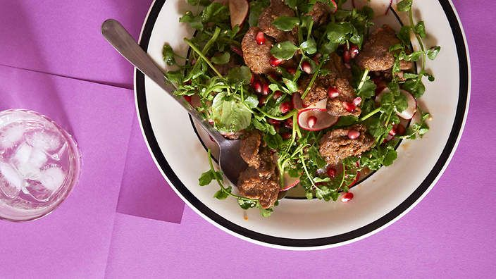 Moroccan Spiced Crisp Chicken Livers And Pomegranate Salad Recipe