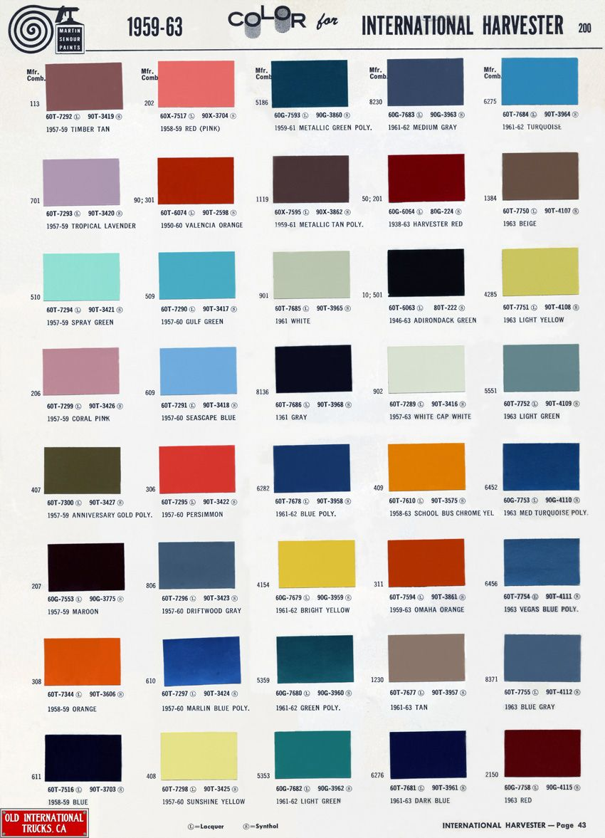 Blue car paint color chart - 1959 63 International Color Chart