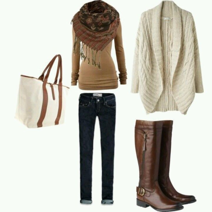 Our cable knit cardigan, ankle jeans, jersey long sleeve and tall boots is gorgeous too!