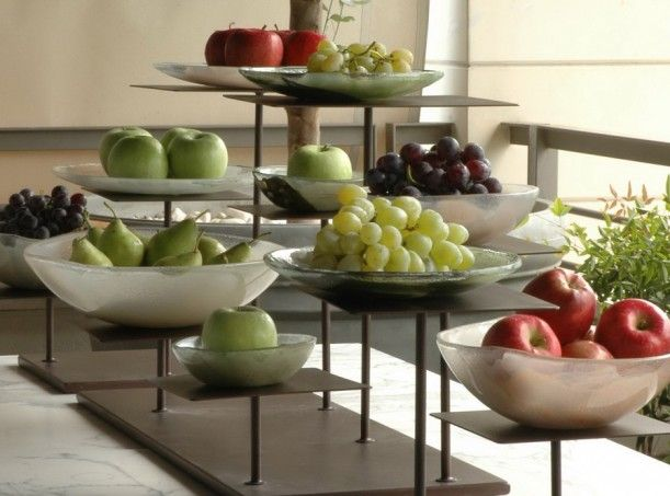 Wood Elevation For Buffet : Fruit buffet display with elevations and glass