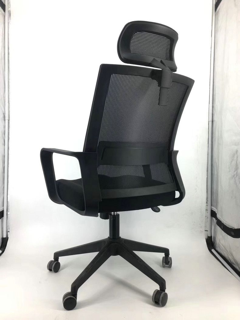 Black mesh high back office chair with headrest rong fu