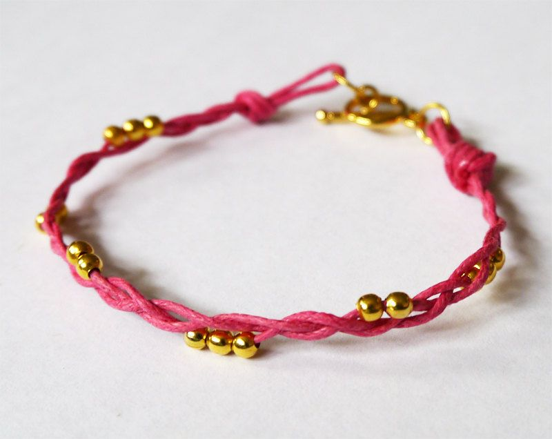 Round Gold Colour Beads Braided Macrame Friendship Stacking Bracelet / Different colour cords available! by LeensLittleThings on Etsy