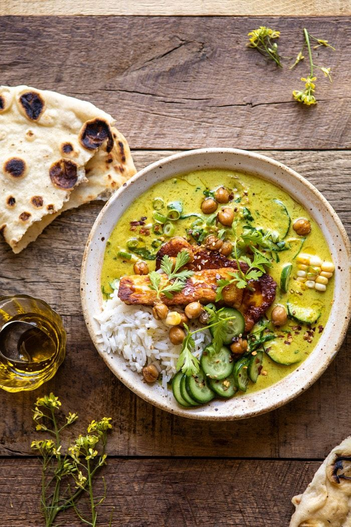 Summer Coconut Chickpea Curry with Rice and Fried Halloumi.