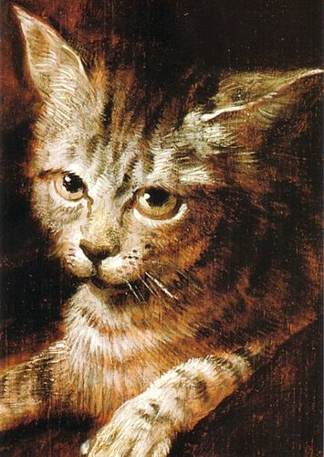 """Judith Leyster (Dutch, 1609-1660) - Detail of the cat from """"A Boy and a Girl with a Cat and an Eel"""", c. 1635 - The National Gallery"""