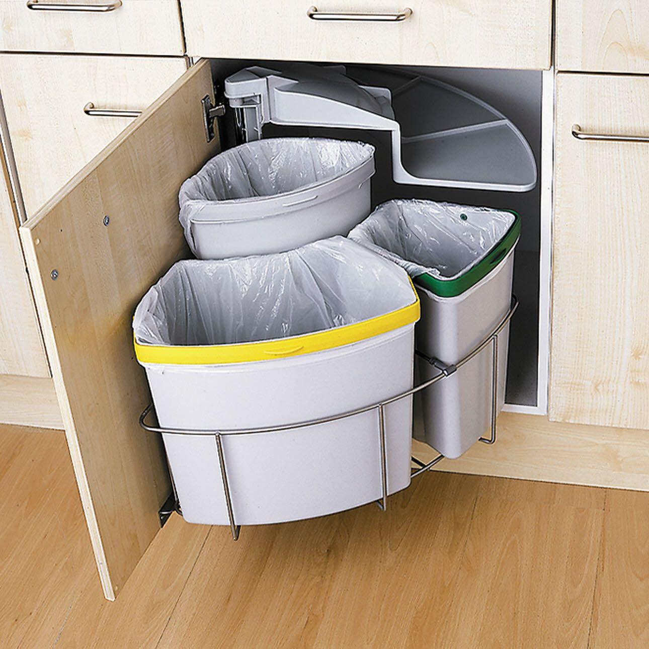 Kitchen Cabinet Three Part Recycling Bin Recycle Recycling Storage Three Part Recycling Bin Recycle Recycling Storage Kitchen Bin Integrated Kitchen Bins