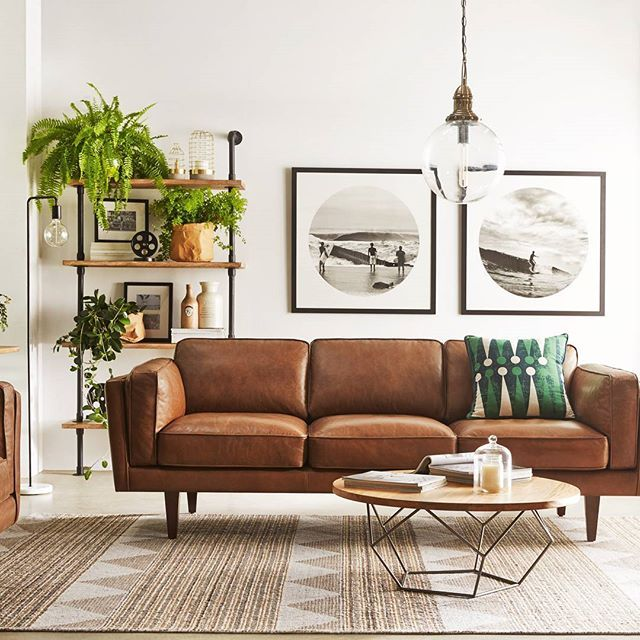 Nice Tan Leather Sofa With Pendant Light