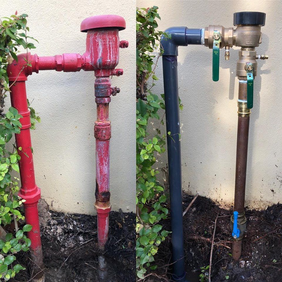 Before And After Pictured Is A Pressure Vacuum Breaker Or Irrigation Backflow Prevention Device We Had To Repla Plumbing Irrigation System Palm Beach County