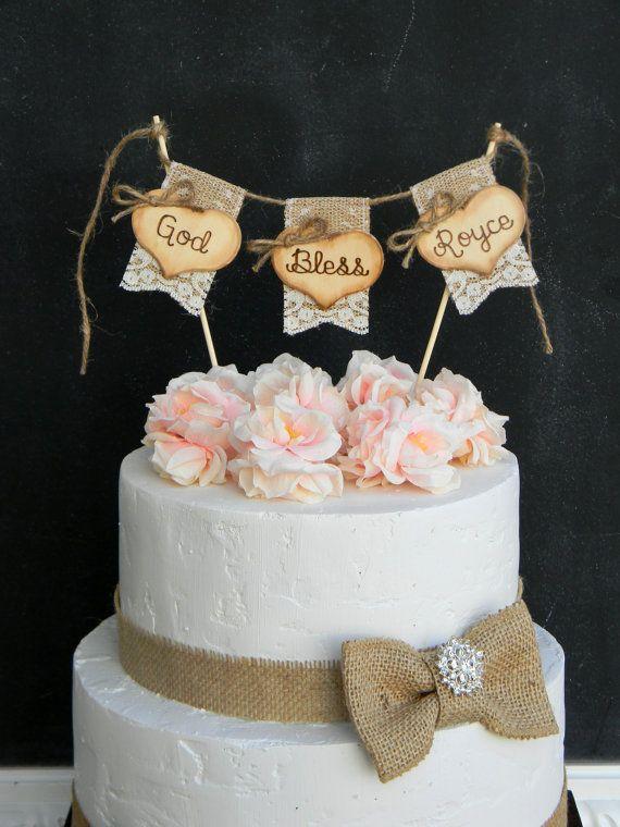 God Bless Christening Baptism Cake Topper Burlap & Lace ...