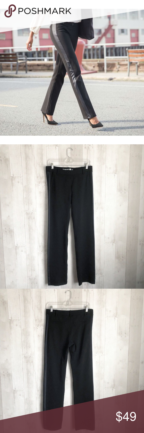 14d42039e7f7b [Betabrand] Tuxedo Straight Leg Dress Yoga Pants Betabrand Size Medium M  Black Dress Pant
