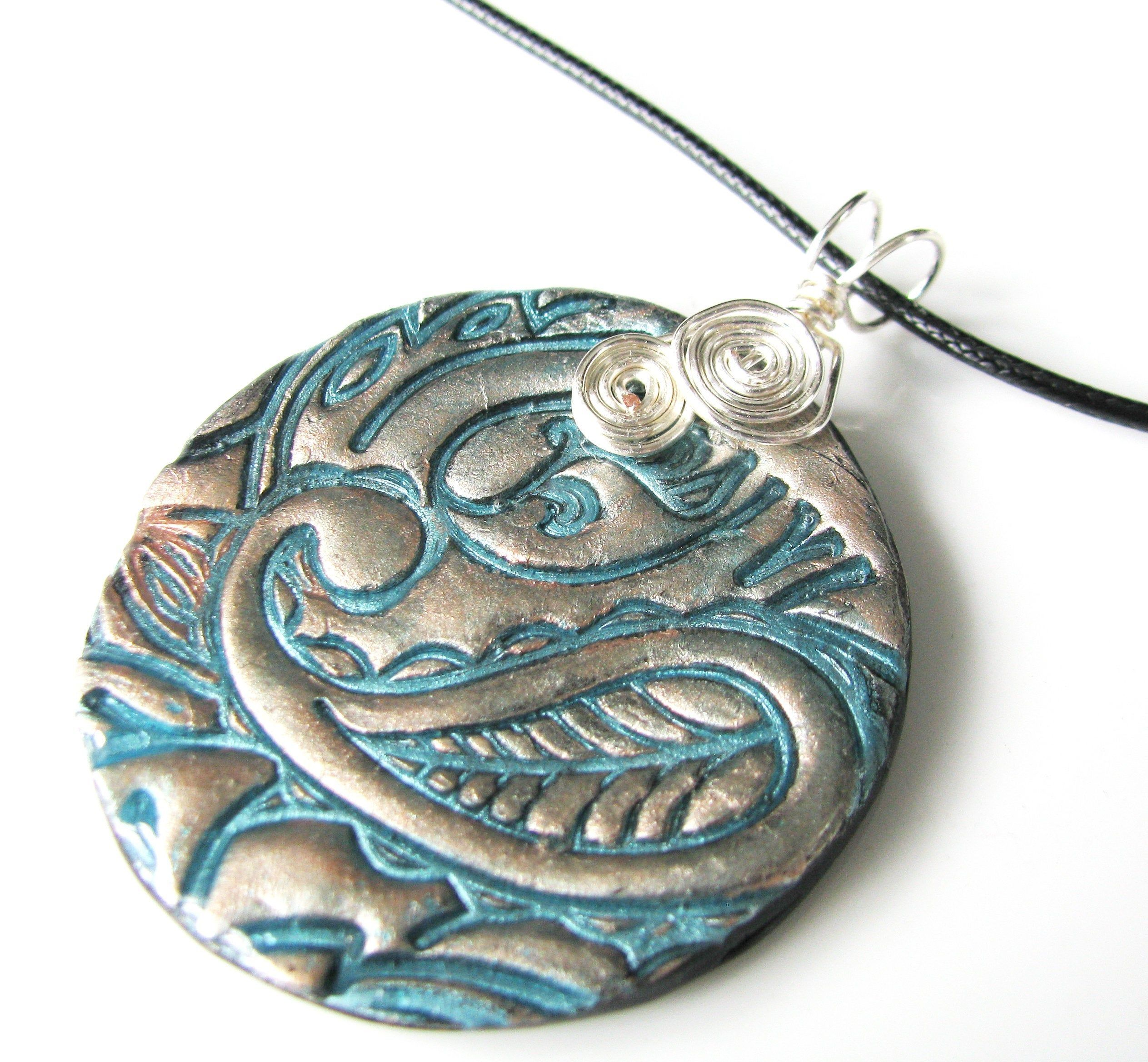 Two Tone Patina Style Polymer Clay pendant Necklace casual Fashion Jewelry For women polymer clay pendant necklace