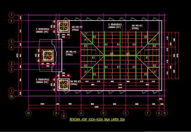 Contoh Atap Baja Ringan Rumah Minimalis Rencana Rangka Kuda-kuda File Dwg ...
