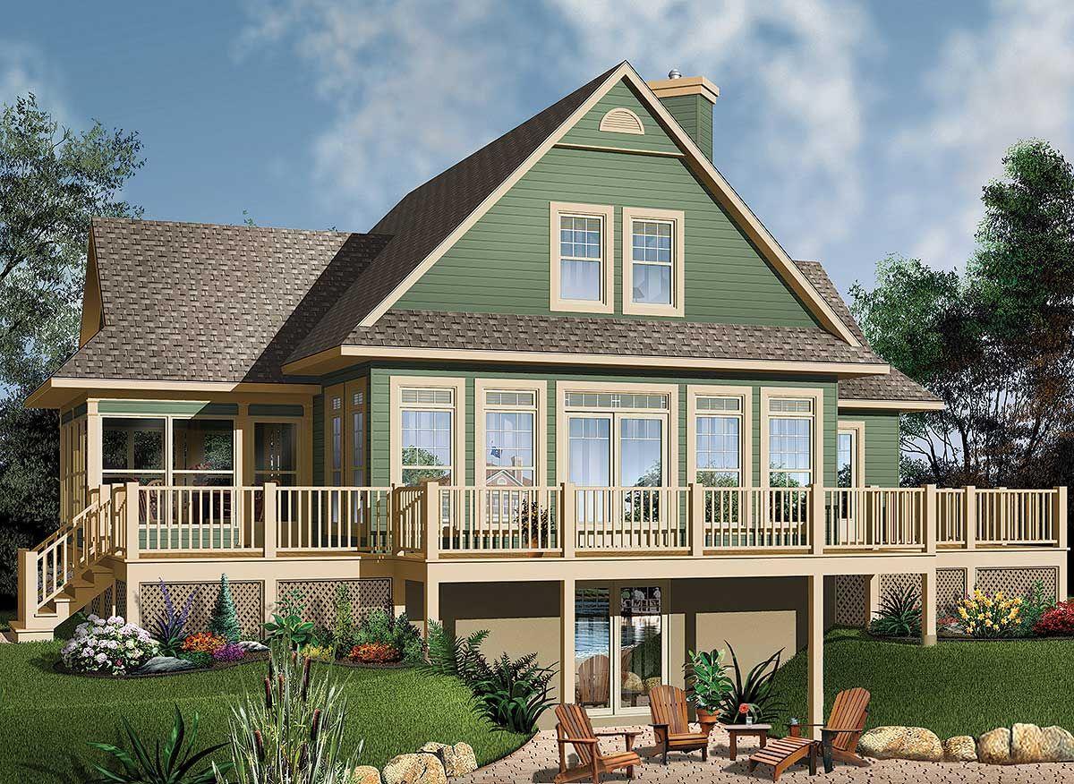 Plan 21569DR: Four-Season Vacation Home Plan