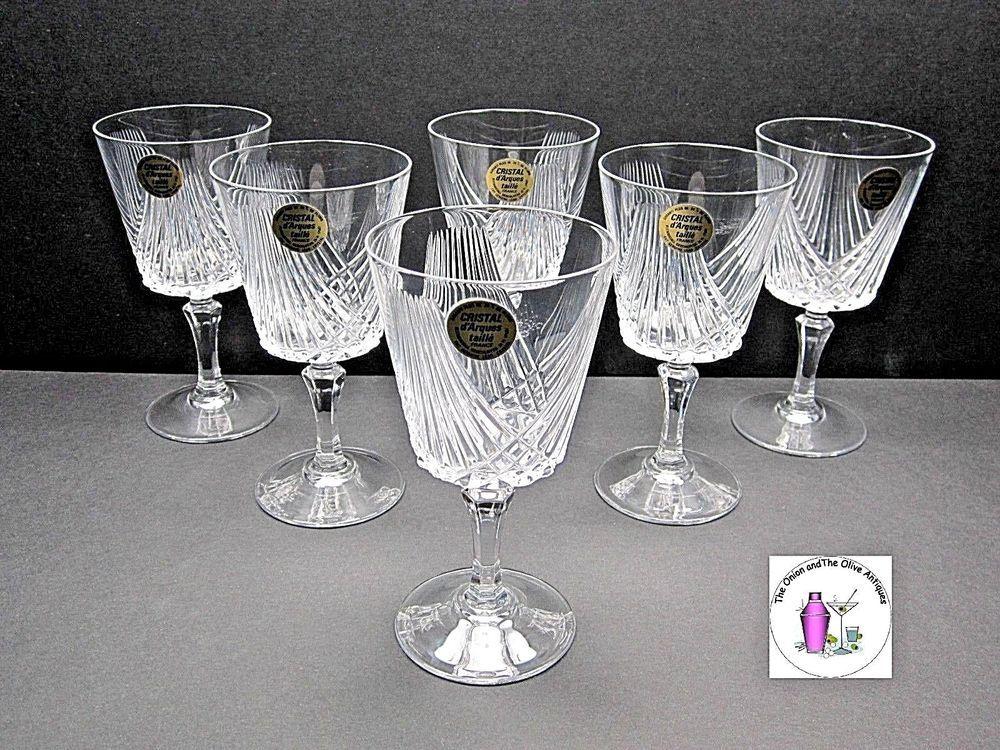 Cristal Darques France Genuine Lead Crystal Vase.Cristal D Arques Taille Cut Genuine Lead Crystal Cordial Stemware