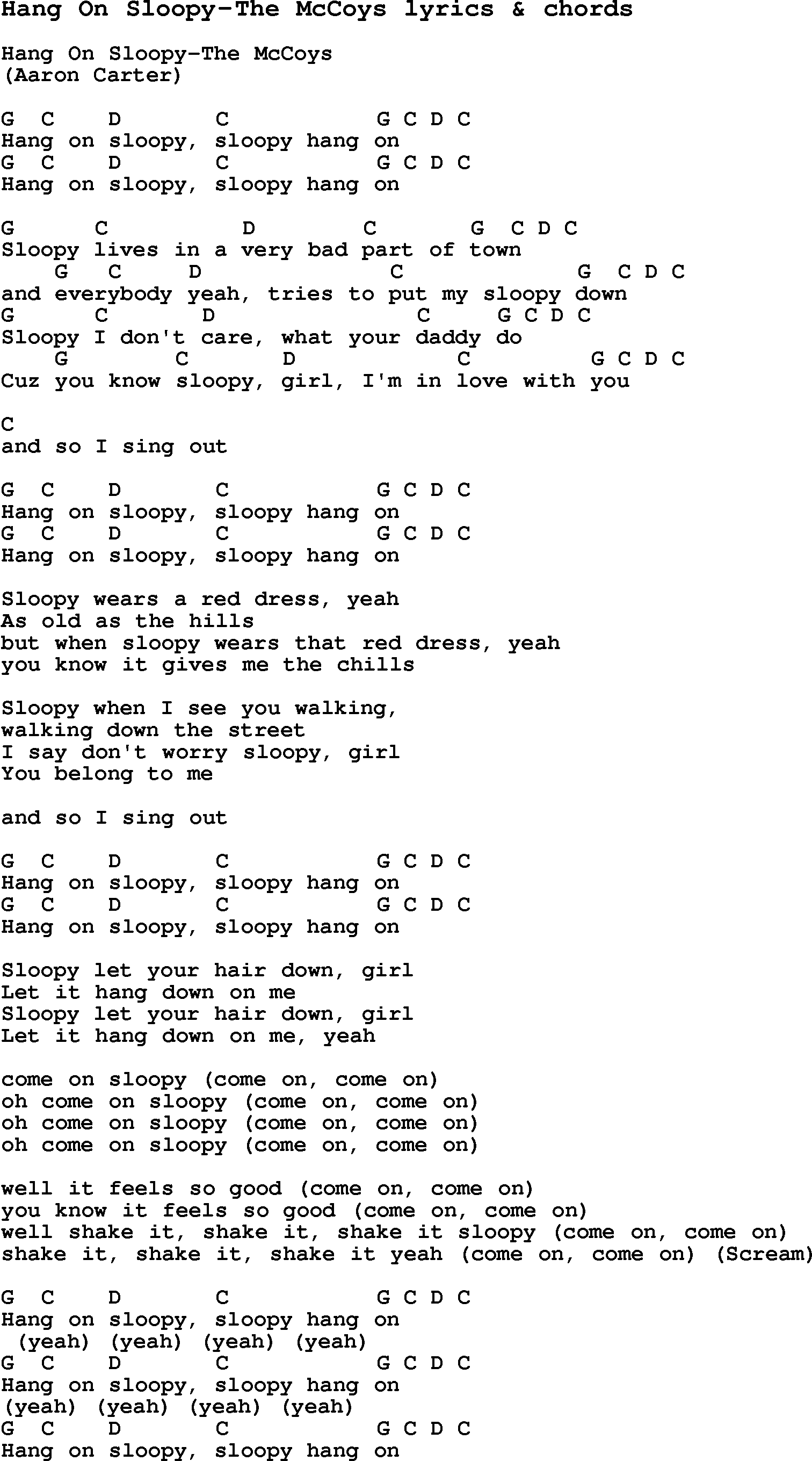 Love Song Lyrics For Hang On Sloopy The Mccoys With Chords For