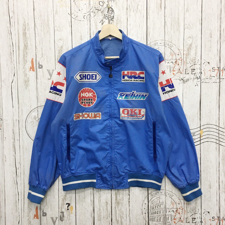 Rare Vintage Honda Racing All Sponsors Light Bomber Jacket Colour Blue Size M Fit L In 2020 Vintage Jacket Nike Shirts Jackets