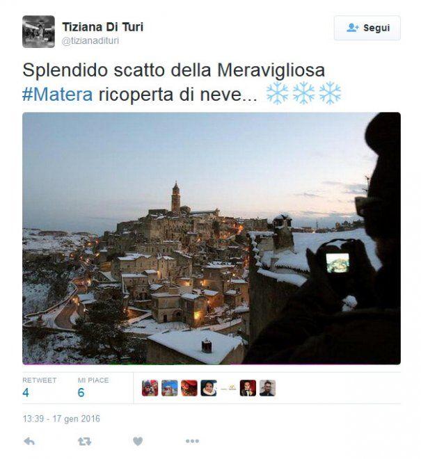 I sassi imbiancati: lo spettacolo di Matera sotto la neve