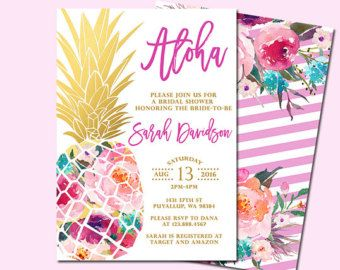 Pineapple Bridal Shower Invitation Tropical By