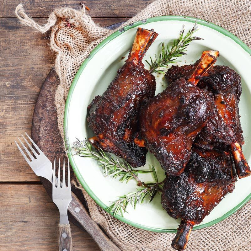 Amber Ale Sticky Lamb Shanks with Bacon Sweet Potatoes - This recipe ...