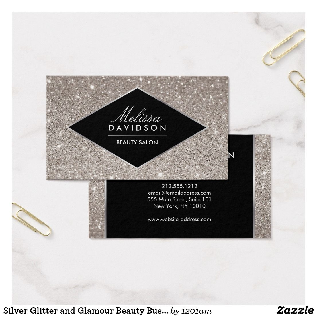 Silver Glitter and Glamour Beauty Business Card   Beauty business ...