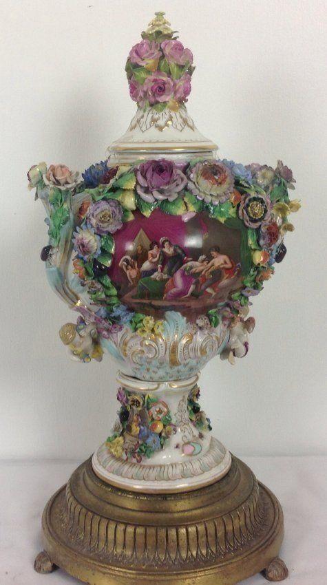 Large Dresden Vase And Cover Lot 246 Antiquestea Pots Vases