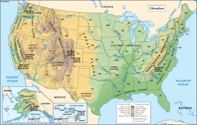 United States Elevation Map | Geography, Map, National parks
