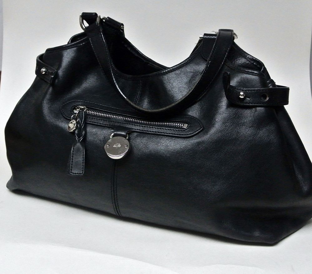 a1cc01cb98ad Authentic MULBERRY bag black SOMERSET TOTE leather shoulder  FREE ...