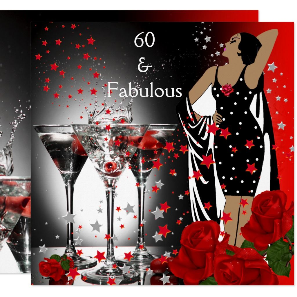 Fabulous 60 60th Birthday Party Red Roses Martini Invitation Zazzle Com 60th Birthday Invitations 60th Birthday Party 60th Birthday