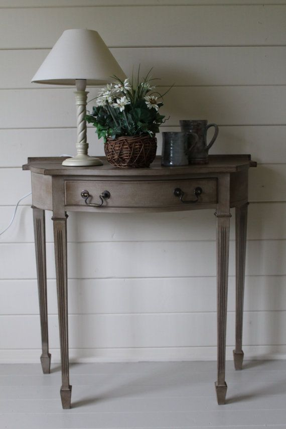 NOW SOLD Elegant Reproduction Demi Lune Table Painted