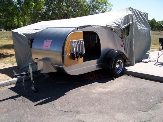 47 Teardrop With A Tent Attachment For Extra Room To Dress Or Stay Out