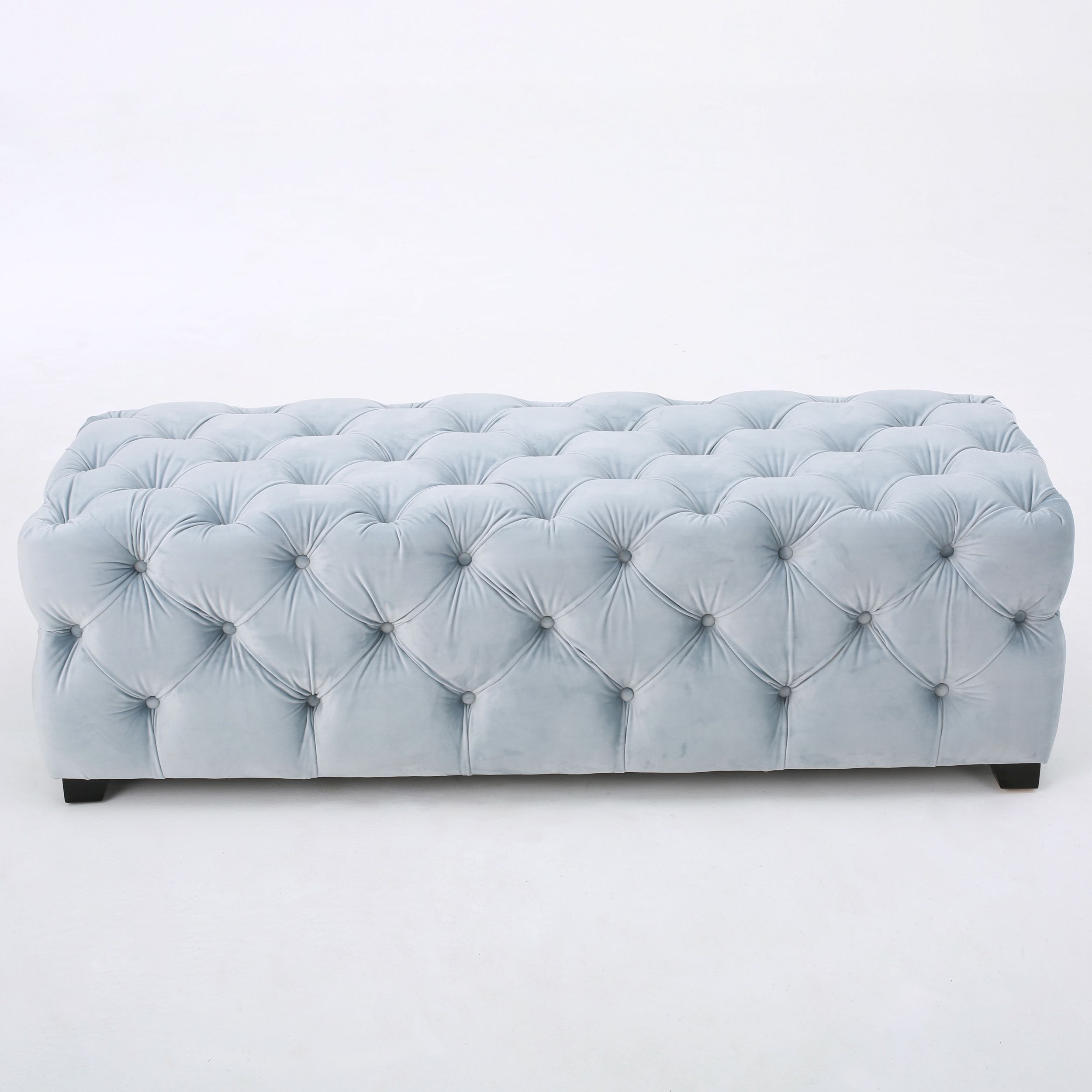 Piper Tufted Velvet Fabric Rectangle Ottoman Bench by Christopher ...