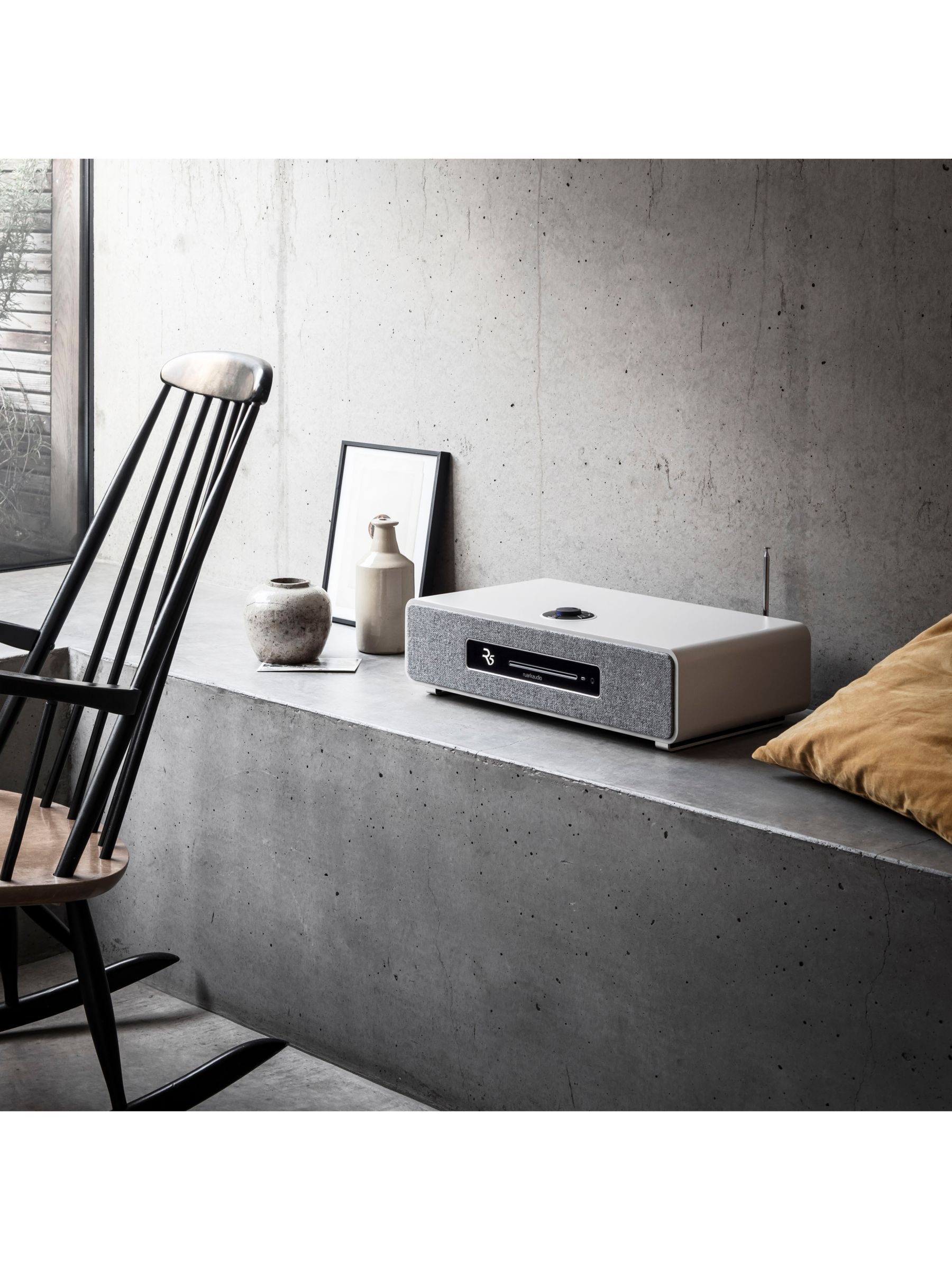 Ruark R5 DAB/DAB+/FM/Internet Radio & CD Bluetooth Wi-Fi Wireless All-In-One Music System, Soft Grey